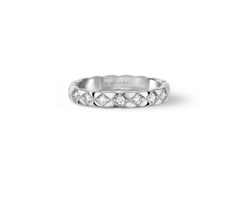 名牌線戒推介:18K白金菱格紋圖案 Coco Crush鑲嵌鑽石戒指 HKD25,900