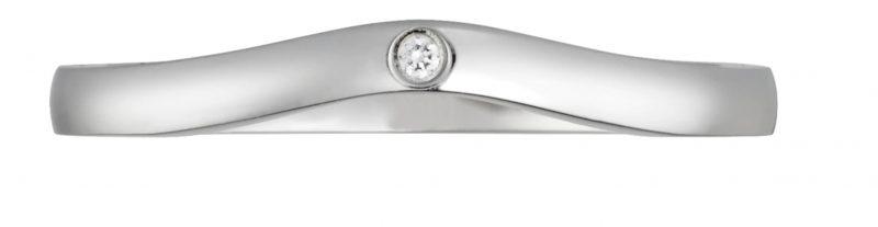 名牌線戒推介:BALLERINE 弧形鑲鑽結婚戒指 HKD12,900