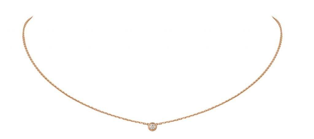 18K玫瑰金,鑲嵌1顆重0.04克拉的明亮式切割圓鑽。圖案直徑:3.79毫米。鏈帶長度:380-410毫米。