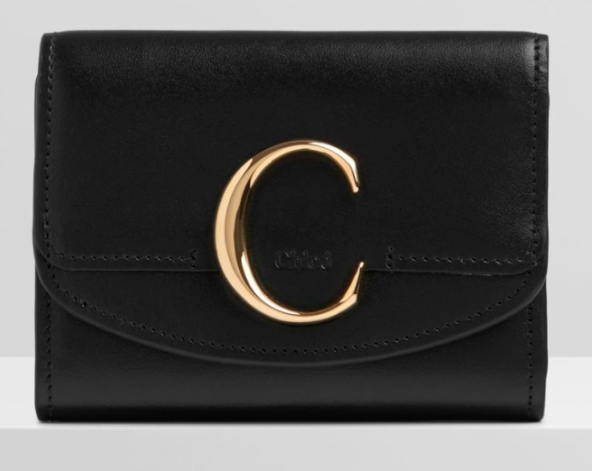 CHLOÉ C SMALL TRI-FOLD WALLET IN SHINY & SUEDE CALFSKIN