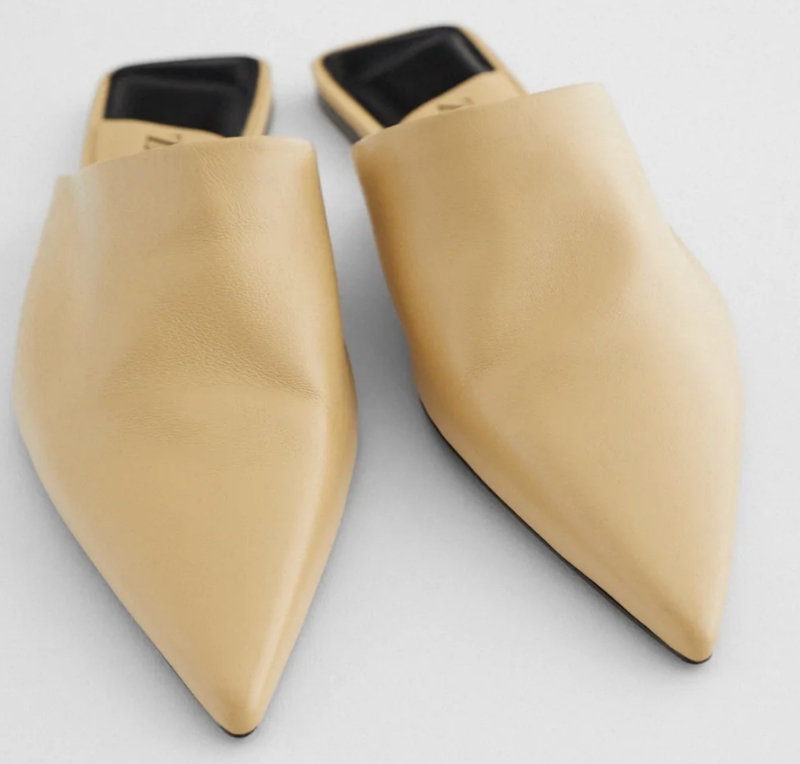 ZARA返工鞋推薦:FLAT LEATHER MULES WITH POINTED TOE