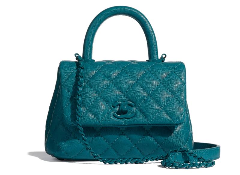 Grained Calfskin Mini Flap Bag With Top Handle HK,200