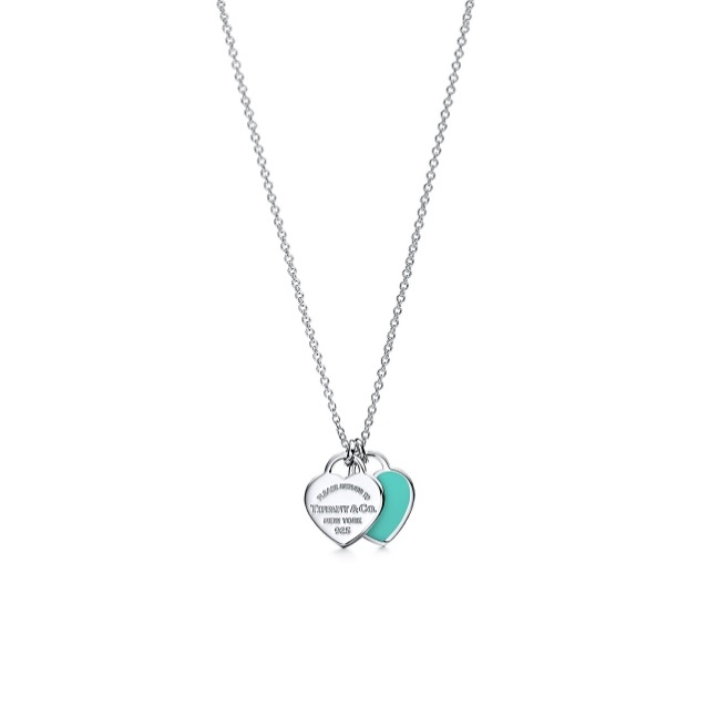 TIFFANY BLUE DOUBLE HEART TAG PENDANT