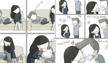 15張情侶日常漫畫 超戳心甜蜜寫照:只要在一起,日常瑣事都變得幸福!