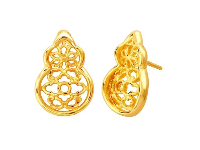 999.9足金葫蘆形狀耳環 約$HK,700
