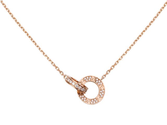 Love 頸鏈,18K玫瑰金,鑲嵌48顆明亮式切割圓鑽,共重0.30卡。寬度:2.65毫米。內部直徑:7.6毫米。鏈帶長度:420毫米。