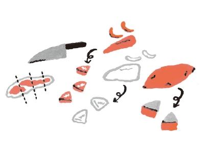1. 將豬肉切成方便入口的大小。白蘿蔔與胡蘿蔔先削皮,再切成1公分厚的1/4圓形。地瓜直接連皮切成1公分厚的1/4圓形(圖片來源:采實文化)