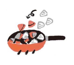 3. 將麻油倒入鍋中,熱油後,倒入步驟❶的食材翻炒。(圖片來源:采實文化)